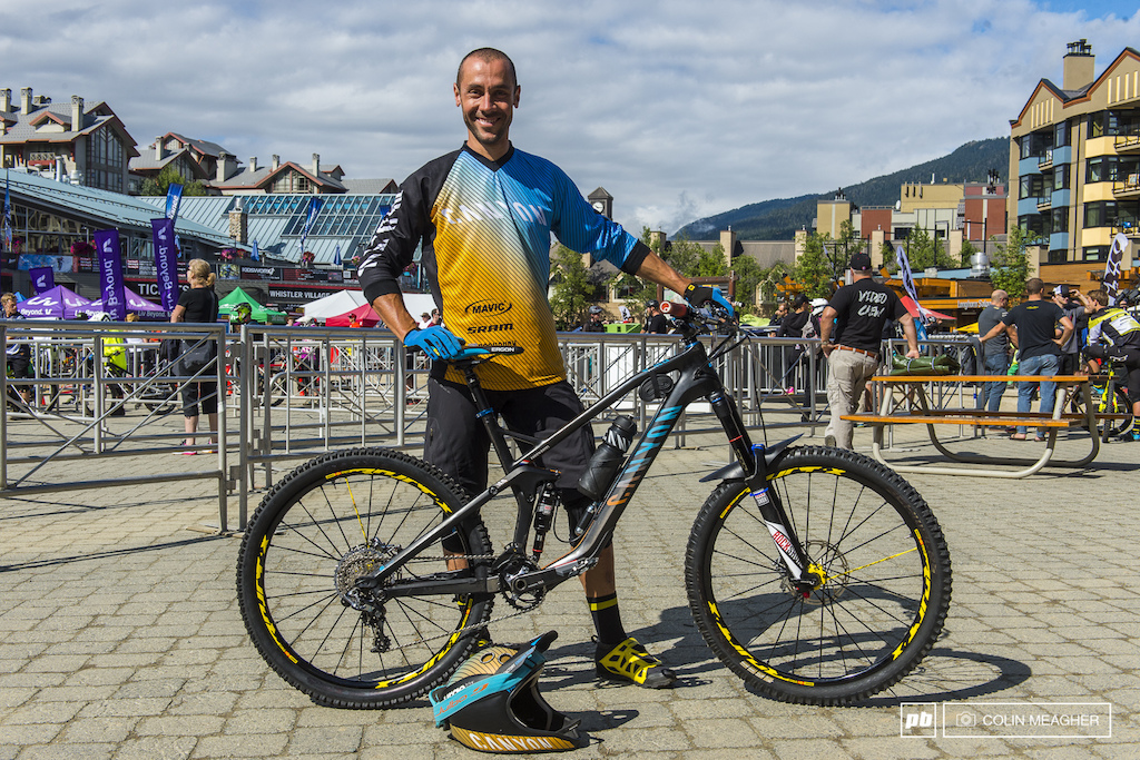 Racing the Enduro World Series at the 2015 Crankworx Mountain Bike Festival held in Whistler Village, BC